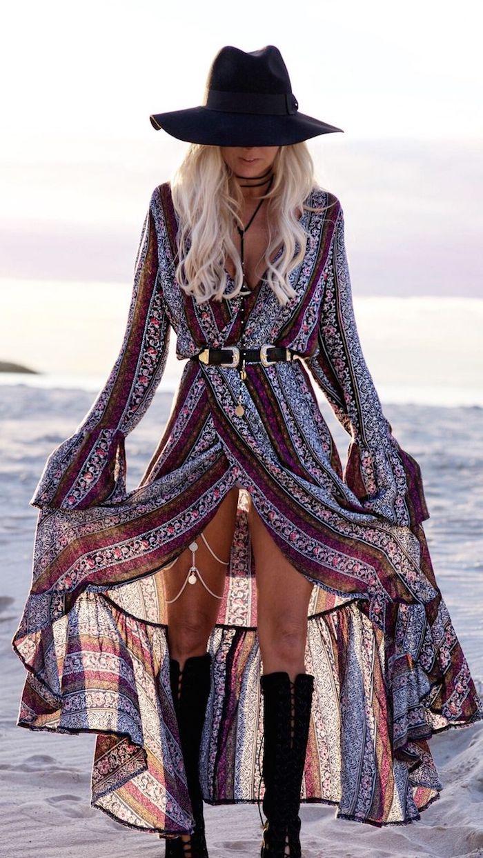 boho chic, mittellange blonde lockige haare, sommer outfit