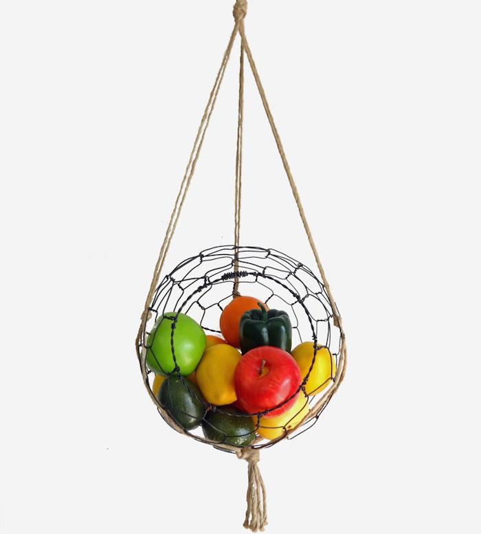 makramee garn obstampel schöne idee hängendes regal für die obst und gemüse idee