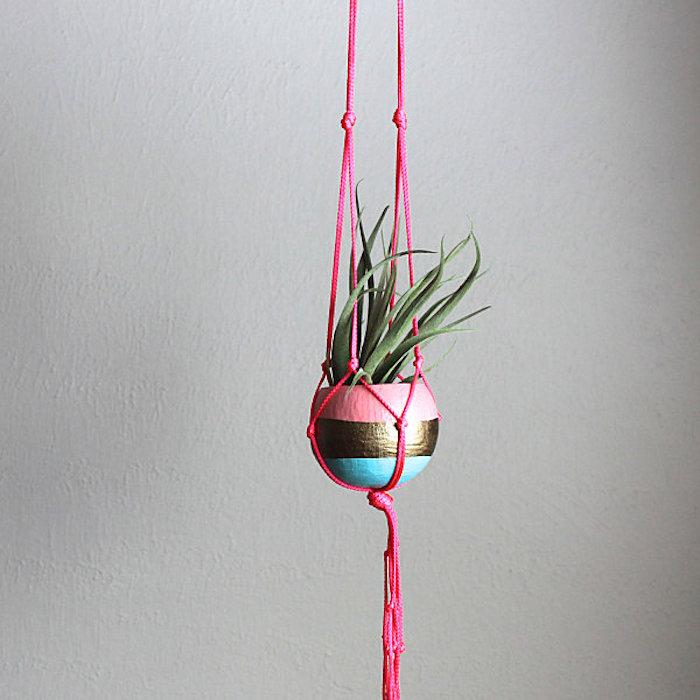armbänder knüpfen anleitung rosa faden ideen zum gestalten von blumentöpfe oder schmuck