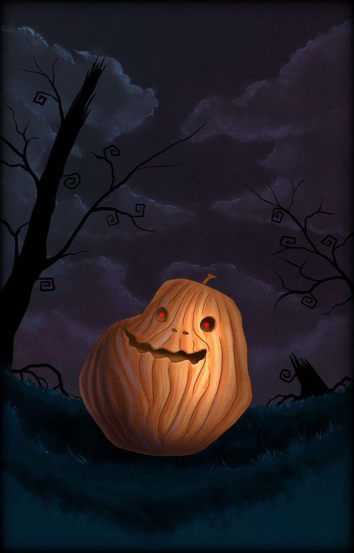 ein Kürbis Gesicht wie das meme Forever alone - Bilder zu Halloween