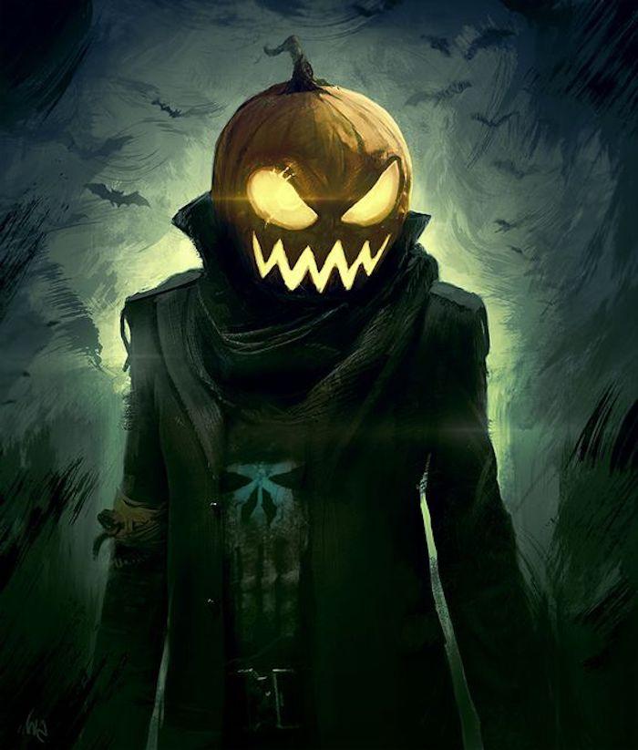 ein Jack O'Lantern Gesicht mit einem zerrissenen Kostüm Bilder zu Halloween