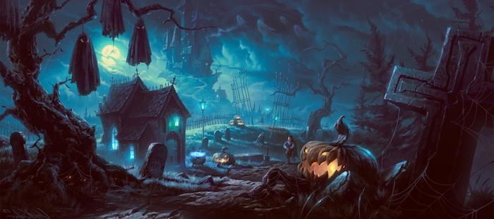 Halloween Bilder ein Friedhof mit kleiner Kirche und Jack O'lantern neben einem Kreuz