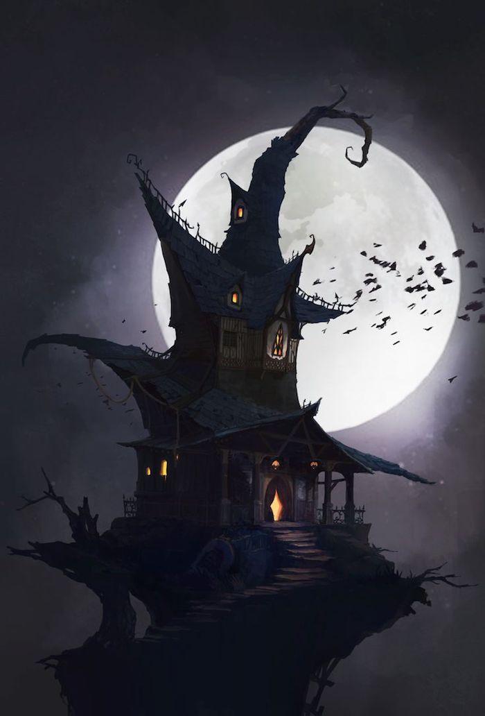 Halloween Bilder ein Hexenhaus in der Nacht viele Fledermäuse der Vollmond scheint
