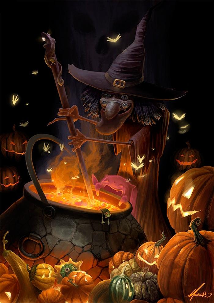 eine Hexe kocht einen Zaubertrank in dem Kessel zwischen viele Jack O'Lantern