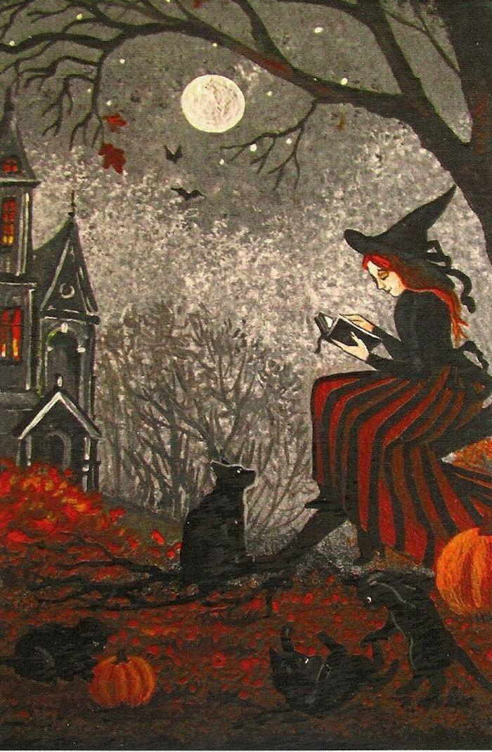 lesende Hexe von vier schwarze Katzen umgeben unter dem vollen Mond