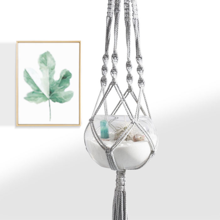 armbänder knüpfen anleitung graue makramee deko idee aquarium darin stellen wanddeko wandbild blatt