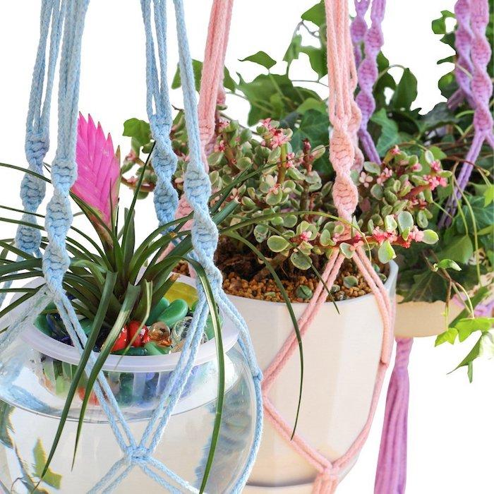 makramee anleitung kostenlos diy projekte selber machen schöne deko ideen blau lila