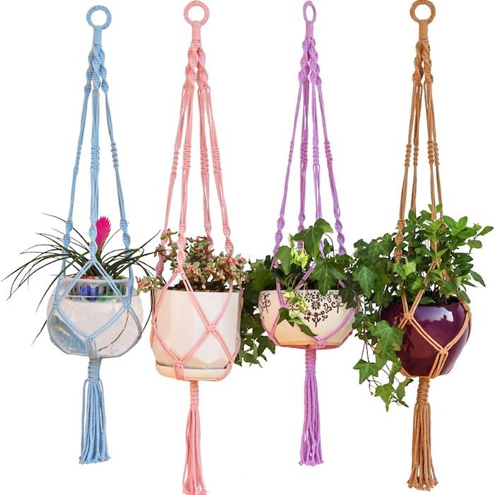 makramee anleitung kostenlos schöne farben dekorationen zu hause hängend