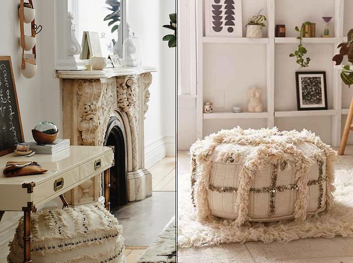 bodensitzkissen extravagantes design tolle idee flauschige möbel zum entspannen kamin