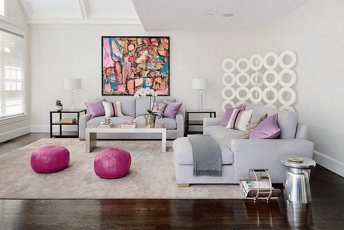 stuhlkissen vintage ideen zyklamene kissen ideen lederkissen graues sofa bunte deko wanddeko bild