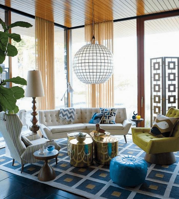 bunte zimmergestaltung für frisches flair zu hause grün blaue deko weiße lampe goldene dekoartikel