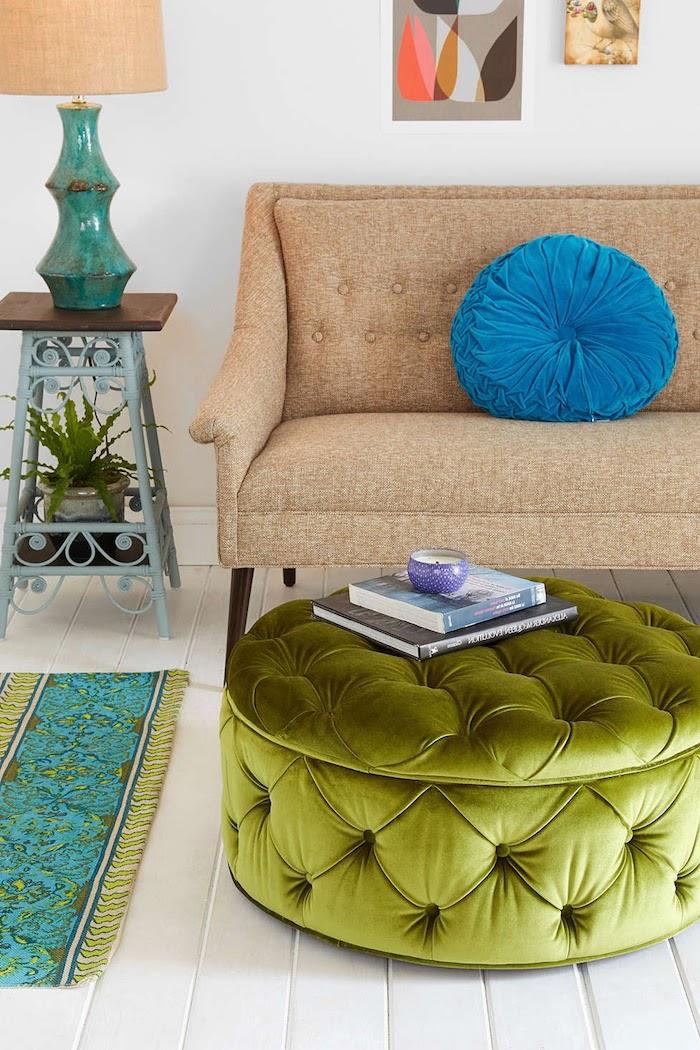 bodensitzkissen ideen zum gestalten lampe kissen blau türkis farbe traumteppich