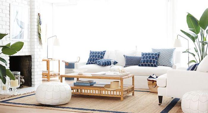 sitzkissenbezüge ideen leder dekorative elemente mediterranean stil blau weiß pflanzen