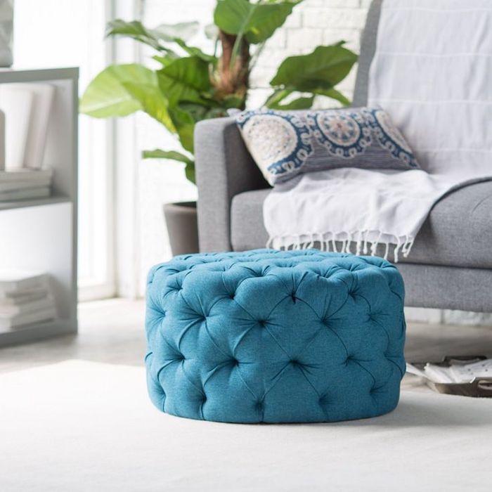 sitzkissenbezüge blau weiß grau pflanze deko ideen zum gestalten decke kissen