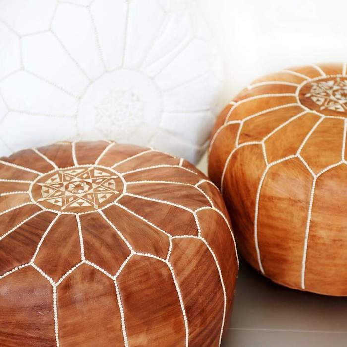 sitzkissenbezüge aus leder idee braunes design weiße dekorationen idee zum gestalten