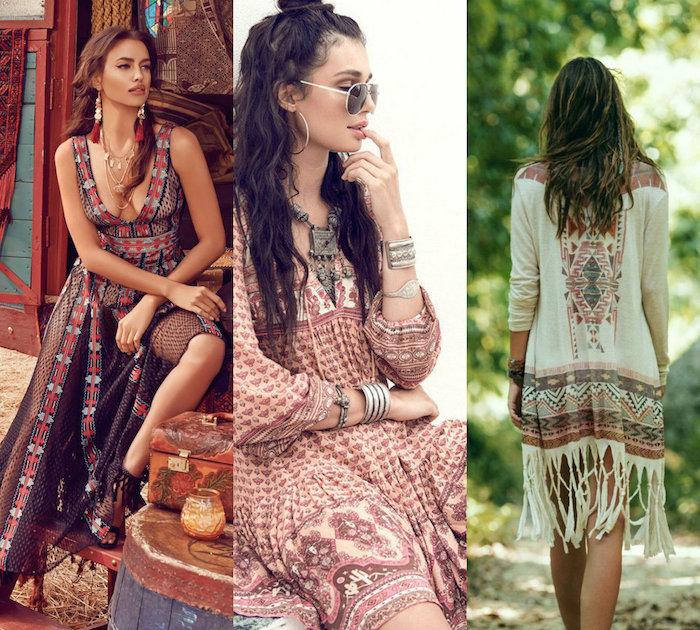 boho kleid in bunten farben, braune lockige haare, sommer outfit
