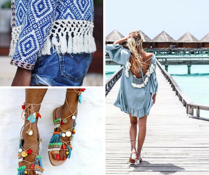 boho schmuck, hellblaues kleid mit weißes troddeln, sommerschuhe mit bunten dekorationen