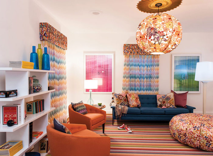 große sitzkissen idee orange sessel kinderzimmer fröhlich ausstatten bunte lampe