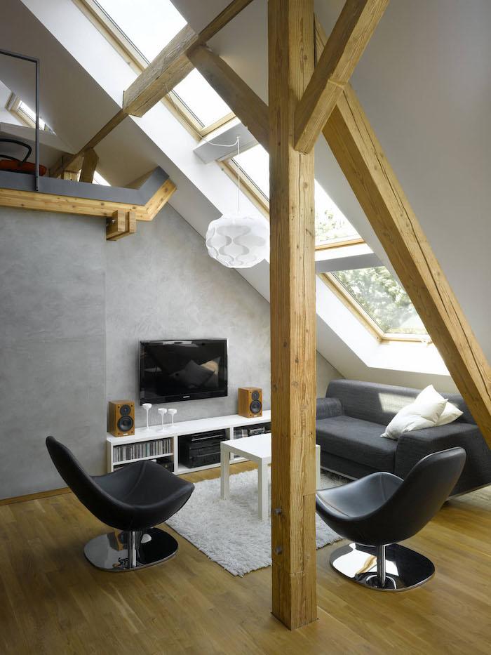 dachgeschossküche idee sitzecke mit freunden genießen fernseher fenster schwarze möbel