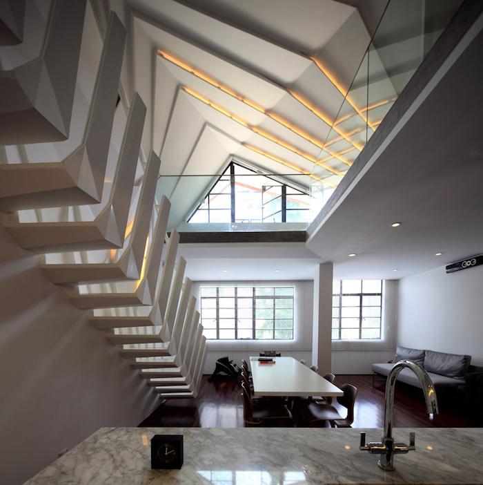 dachgeschoss küche idee treppe moderne wohnung einzigartig einrichten ideen