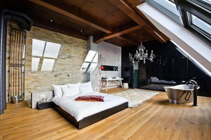 dachschräge gestalten ideen schlafzimmer bett fenster badewanne im schlafzimmer idee