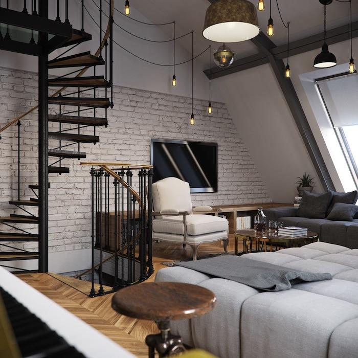 wohnung einrichten ideen graue möbel weißer sessel treppe nächster stock lampen