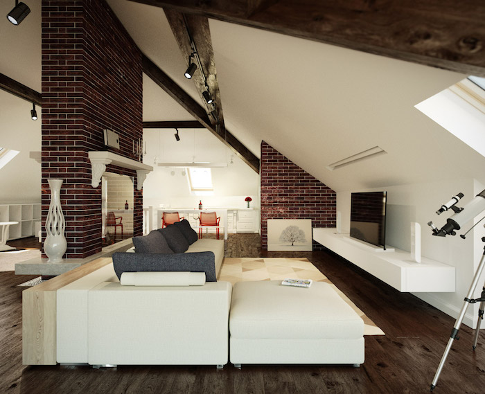 wohnung einrichten ideen wohnzimmer in weiß und braun sofa riesengroß fernseher vasen deko