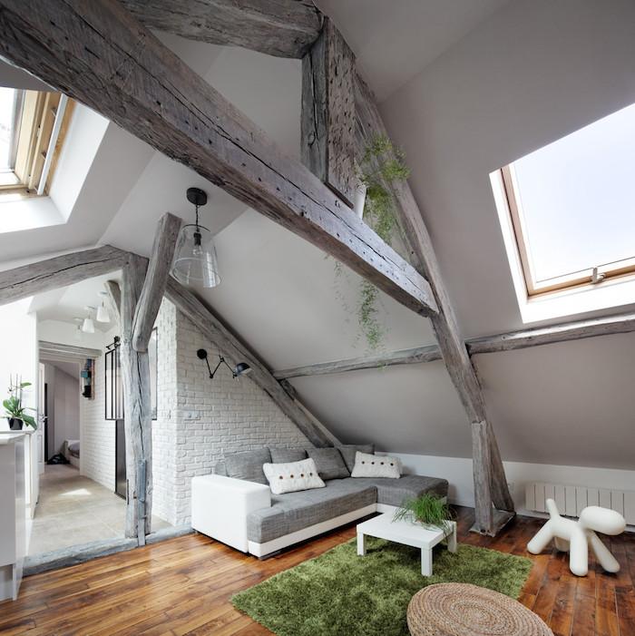 dachgeschosswohnung schön einrichten und dekorieren graues design weiße wände