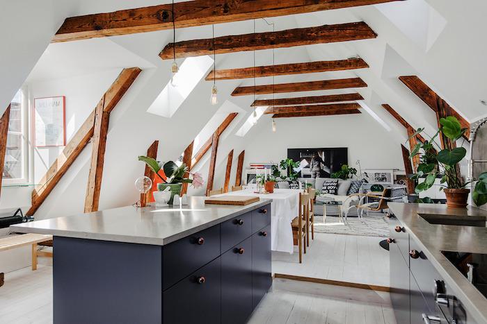 dachgeschosswohnung wohnküche einrichtungsideen fenster küche esszimmer kochen