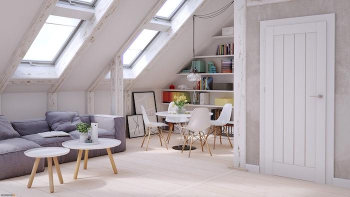 Wohnung Einrichten Ideen Graues Sofa Idee Zwei Kleine Tische Runder Tisch  Fenster Tür