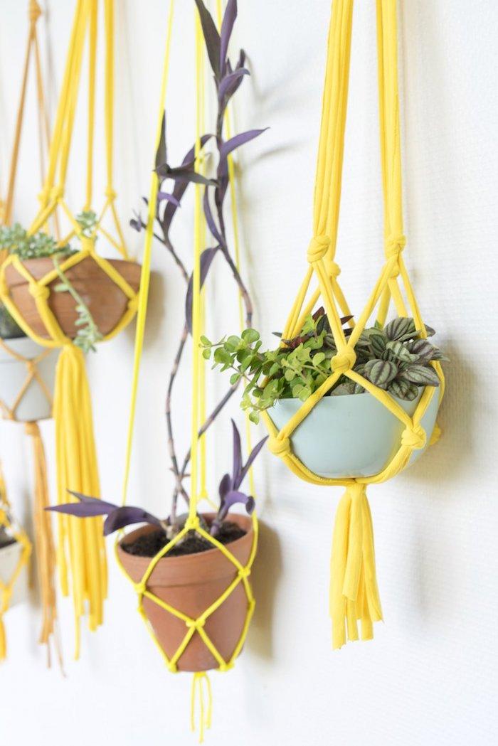 armbänder knüpfen anleitung schöne frische gelbe farbe deko ideen glückliche pflanzen grüne pflanzen kontraste farben