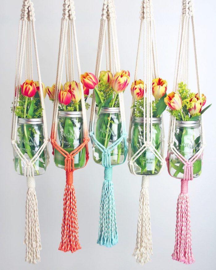 makramee anleitung kostenlos gläser hängend tolle deko dekoration ideen stricken