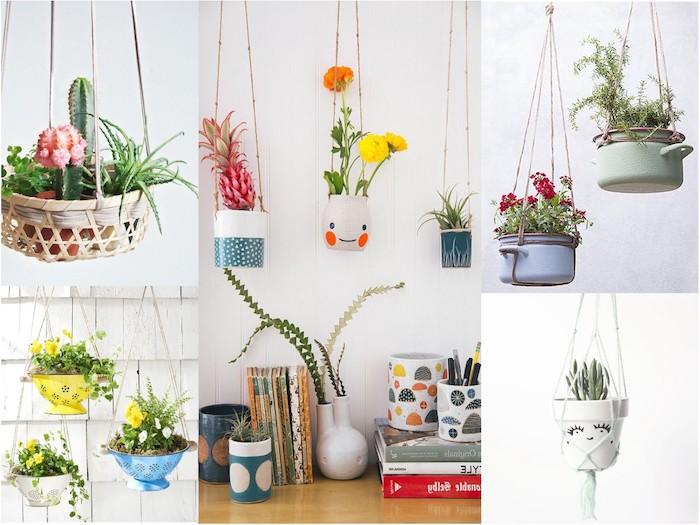 hängeampel selber machen schöne hängende dekoration ideen kochtopf blumentopf deko