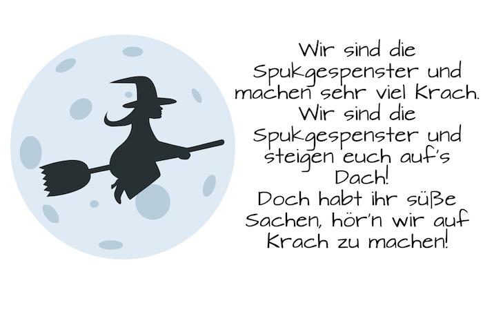 werfen sie einen blick auf dieses bild mit einem halloween spruch, einer fliegenden schwarzen hexe und einem großen mond