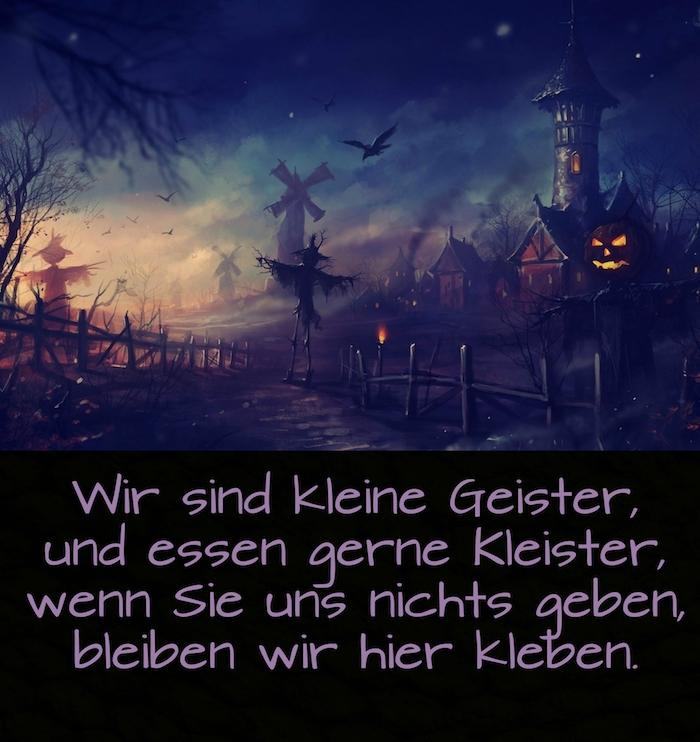 schönes bild mit einem dorf, schwarzen häusern, fliegenden vögeln, halloween monstern mit halloween kürbissen und einem spruch zu halloween