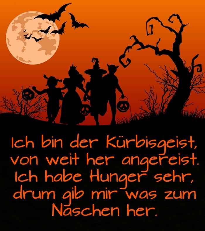 werfen sie einen blick auf dieses bild mit einer idee zum thema tolle halloween sprüche und einem mond, schwarzem baum, halloween monstern, schwarzen fledermäusen, kürbissen und hexen
