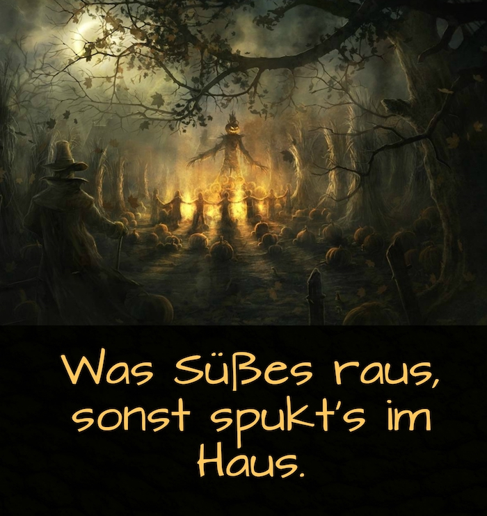 hier finden sie ein tolles bild mit einem spruch zu halloween und tollen halloween monstern mit halloween kürbissen im wilden wald