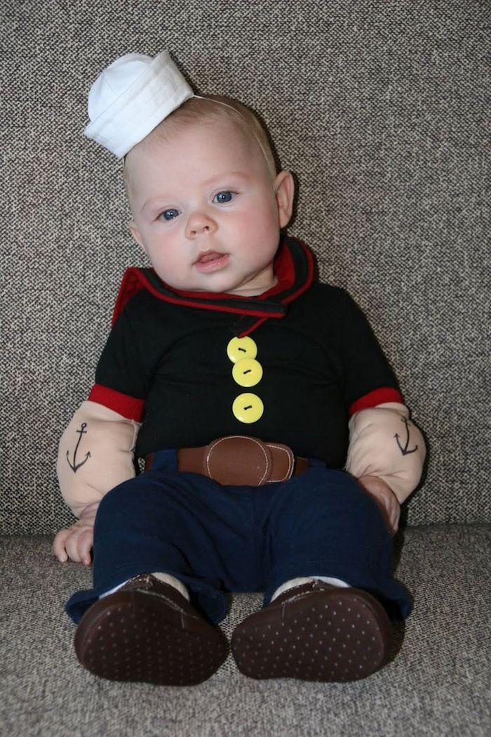 Halloween Kostüm Ideen für ein Baby - Popey mit dem Tattoos von Anker