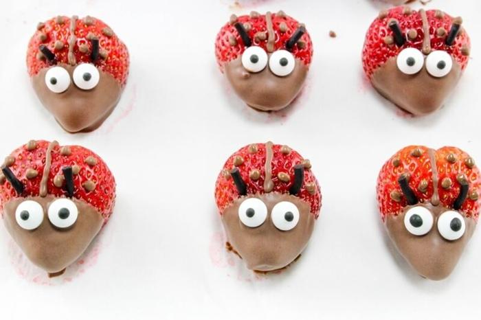 Kleine Snacks für Partys, Erdbeeren mit Schokolade-Marienkäfer, tolle Ideen für Kindergeburtstag