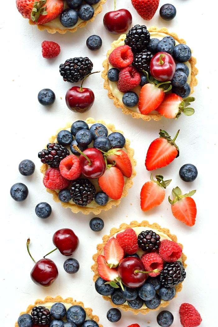 Tarten zubereiten und mit Beeren garnieren, Rezepte für schöne und leckere Nachtische