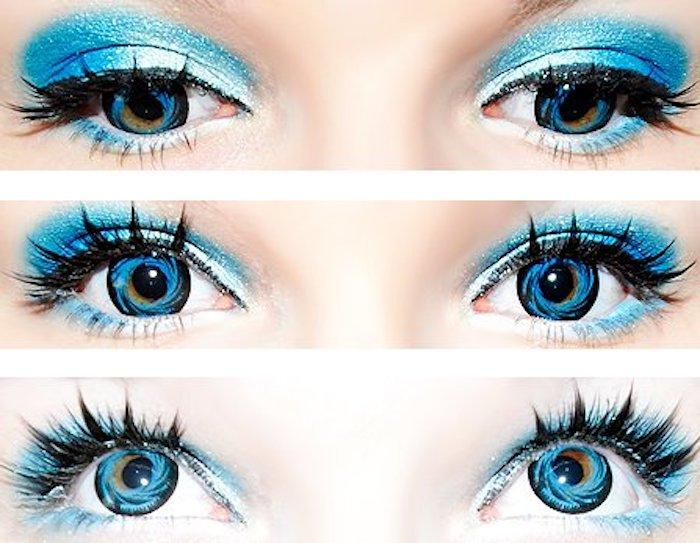 blaue Halloween Augen, die wie die Erde aussehen, blaues Glitzer Make-Up