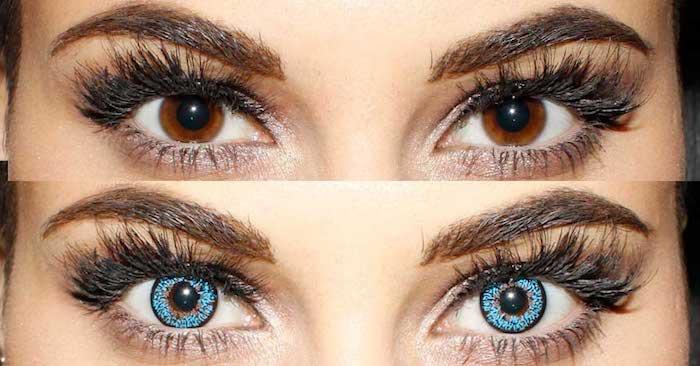 Frau mit Kontaktlinsen Halloween, geschminkte Augen, große Augen
