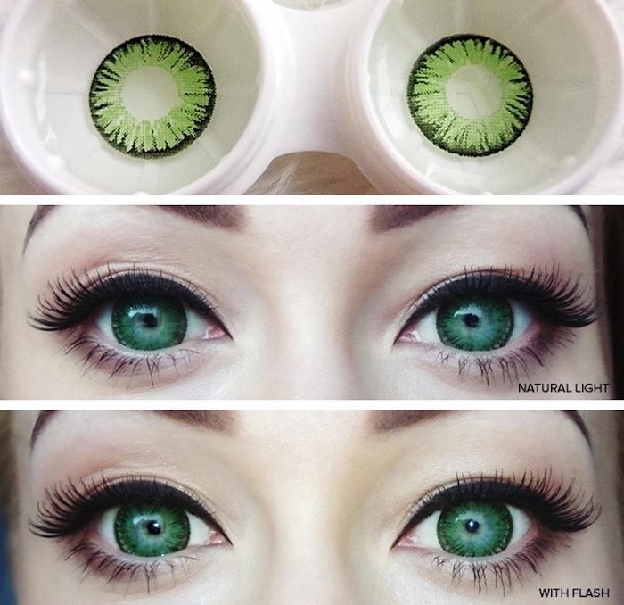 grüne Augenlinsen mit UV, die im Dunklen leuchten, Frau mit grünen Augen