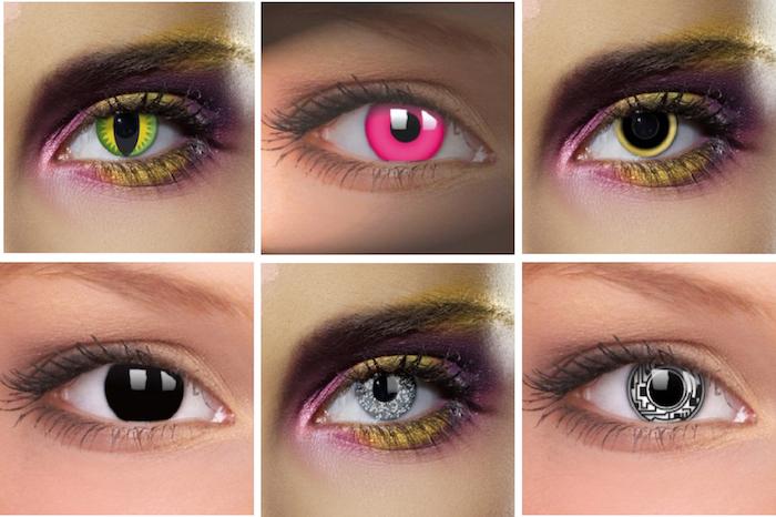 sechs verschiedene Modelle von Halloween-Augenlinsen mit verrückten Motiven