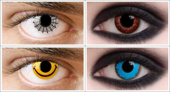 Fotocollage aus vier Bildern von Frauen- und Männeraugen, Halloween Schminke