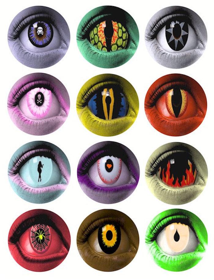 unterschiedliche Modelle von bemalten Kontaktlinsen für Halloween