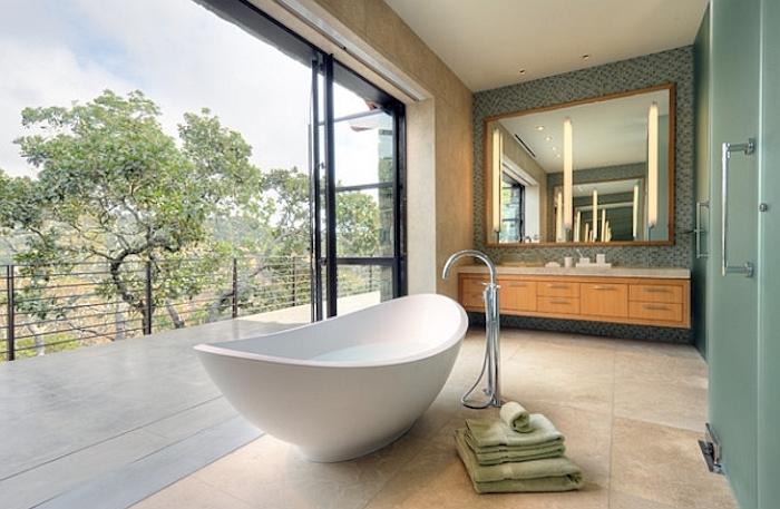 freistehende badewanne aus mineralguss, badezimmer einrichten