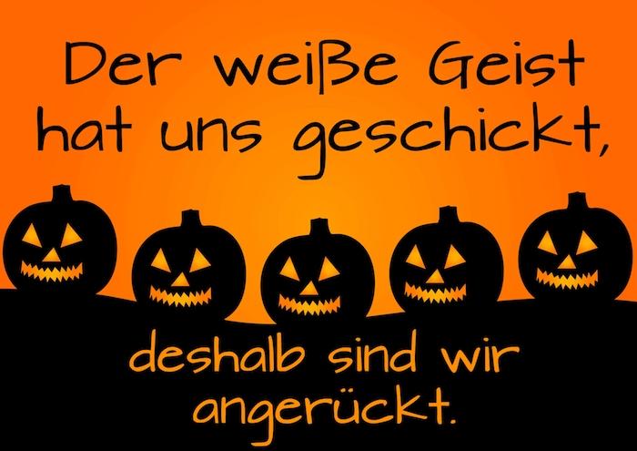 jetzt zeigen wir ihnen noch ein märchenhaftes bild mit fünf schwarzen halloween kürbissen und einem tollen kurzen spruch zu halloween