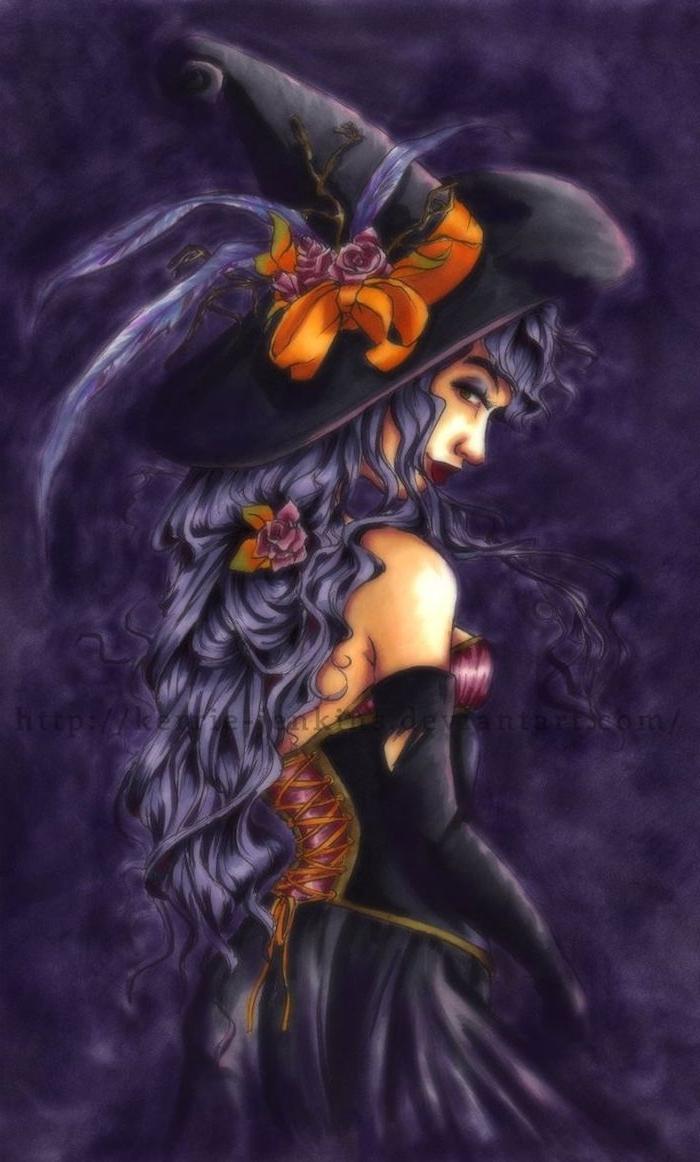 Bilder zu Halloween eine Hexe mit einem langen lila Haar und Hexenhut mit Blumen
