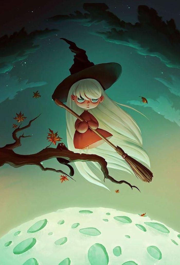 weiße Haare von einer kleinen Hexe mit Besen und ein schwarzes Hexenhut - Bilder zu Halloween